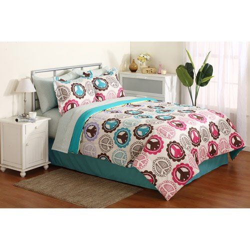 Lime Green And Pink Bedding: Girl Pink Purple Lime Green Teal Peace Sign Twin Comforter