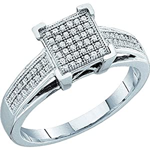 10kt White Gold Womens Round Natural Diamond Square Cluster Fashion Ring (.20 cttw.)