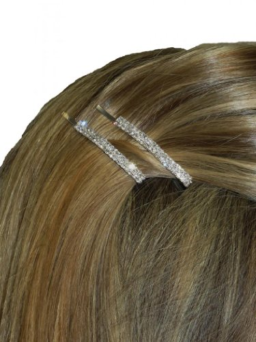 (6275) Ladies Diamante Hair Clips Set Of 2 Silver