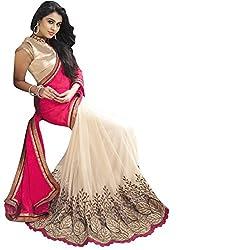 Shubhkari Fashion Pink & Cream Georgette Women's Saree With Blouse(SF_NAVRATRI_SPECIAL_1008)