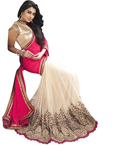 Shubhkari-Fashion-Pink-Cream-Georgette-Womens-Saree-With-BlouseSFDIWALISALESPECIAL1008