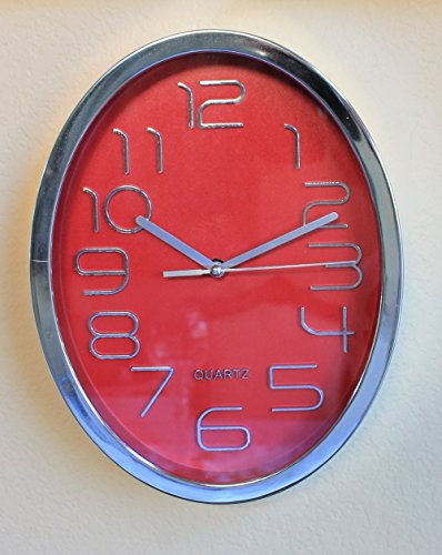 Red Wall Clock Wireless Silver Trim Oval ShapeContemporary Modern RCLK