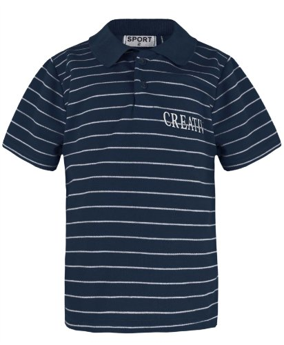 Boys Stripy Polo Shirt Creative Print In Navy 3-4 Years