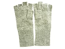 Heather Gray Pure 100% Cashmere Fingerless Half Finger Gloves