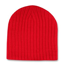 dad5ed17dc0 RED SHORT CABLE KNIT BEANIE SKI CAP CAPS HAT HATS TOQUE  Everything Else