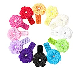 Ema Jane - Peony Flower Hair Clips with Crochet Headbands (12 + 12, 24 Set)