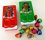 Set of Two Green & Red X-mas Wreath Door Tins with Chocolate Ornaments