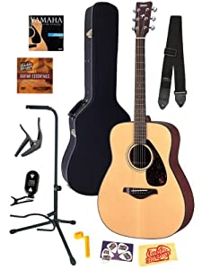 Yamaha FG700S Folk Acoustic Guitar Bundle with Hard Case, Strap, Stand, Tuner, Strings, Picks, Capo, String Winder, and Instructional DVD - Natural by YAMAHA