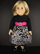 A Black Dress with Black Leggings and a Silver Swirl Pattern Designed for 18 Inch Doll Like the American Girl Dolls , Shoes Sold Separately