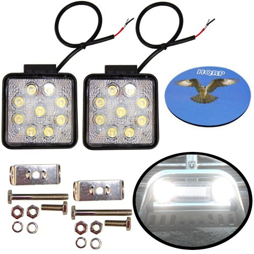 Hqrp 2-Pack Square 27-Watt Led Worklight 9 Leds Waterproof Flood Beam Light Lamp For Back Up Light / Off Road Lighting / Boat Lighting / Construction Lighting Plus Coaster