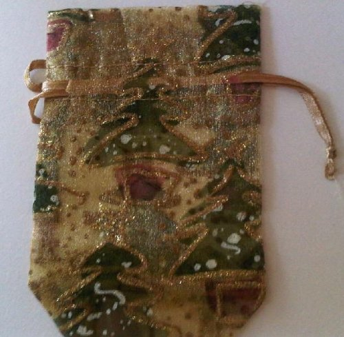 "Gold Christmas Tree Glitter Organza Bag 12 Piece Holiday Party Favor Wrap Pouch Ribbon Drawstring 3 1/4""x5"""