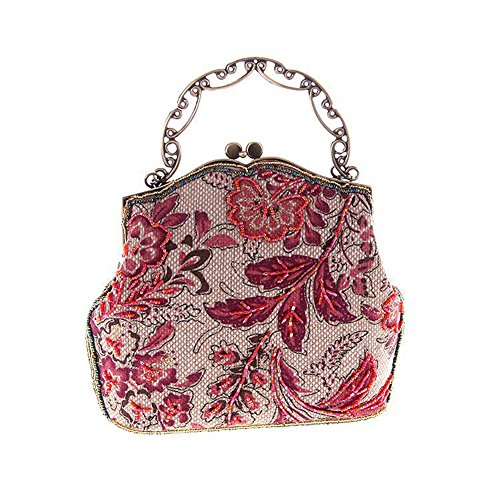 Covelin Women's Vintage Clutch Handbag Flower Beaded Evening Tote Bag Hot Red (Vintage Clutch compare prices)
