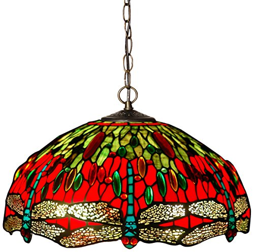 Arte dal Mondo Tiffany Lampadario Dragonfly, Vetro/Ferro, Multicolore, 90 x 42 cm