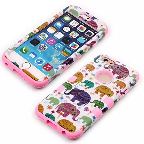"Apple 4.7"" Iphone 6 Case, Matek [Elephant] Shock-Absorption / High Impact Resistant Hybrid Dual Layer Armor Defender Full Body Protective Case Cover (Pink) front-229588"