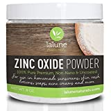 Zinc Oxide Powder Non Nano Uncoated, 100% Pure Cosmetic Grade 10 Free Recipes And Scoop La Lune Naturals Zinc Oxide For Face, Nose, Lips, Sunblock, Acne, Eczema, Homemade Safe Sunscreen For Kids