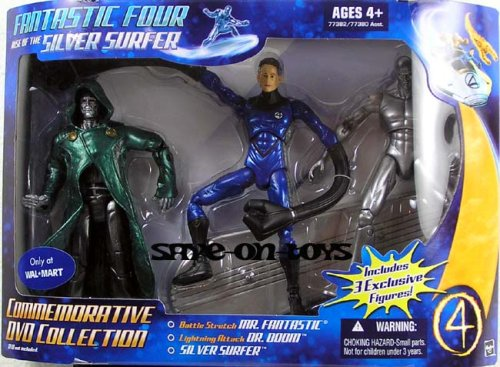 Picture of Hasbro Fantastic Four: Rise Of The Silver Surfer Commemorative Collection Dr. Doom Mr. Fantastic and Silver Surfer Action Figure 3-Pack (B000YN76FA) (Fantastic Four Action Figures)
