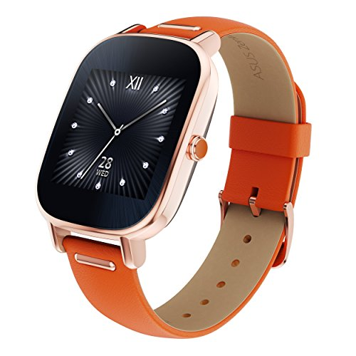 "ASUS ZenWatch 2 Android Wear Smartwatch - 1.45"", Rose Gold case with Orange Leather band"