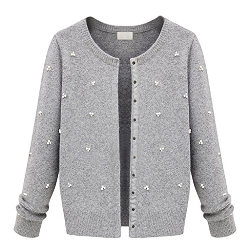 Hee Grand Wool Blended Overs Women'S Cashmere & Merino Scooped Pearl Cardigan Chinese L Grey