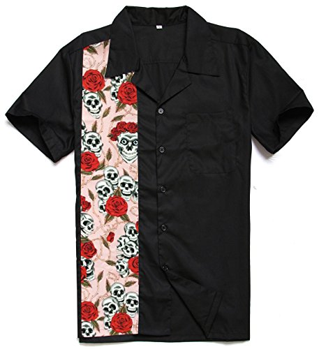 Generic Men's 50s Male Clothing Rockabilly Style Casual Cotton Blouse Mens Fifties Bowling Pink Rose Shirts (L) steampunk buy now online
