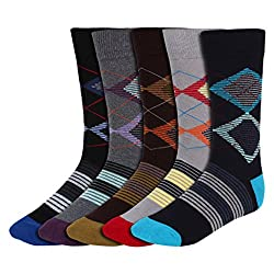 His Honour Men's Fashion Full Length Socks (Pack of 5 Pairs)