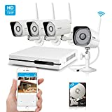 Zmodo Wireless Indoor Outdoor Smart Home Security Camera System 4CH NVR System 1TB Hard Drive