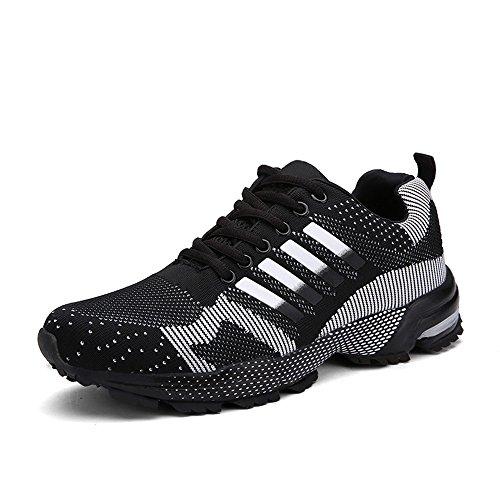 PAMRAY Scarpe Running Sportive Uomo Donna Sneakers Antiscivolo Confortevole Nero 44