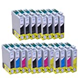 20x Inks - 3x Full Sets of T1295 Plus 8x T1291 Black Compatible Ink Cartridges (with chip) for Epson Stylus Office B42WD BX305F BX305FW BX305FW Plus BX320FW BX525WD BX535WD BX625FWD BX630FW BX635FWD BX925FWD BX935FWD Epson Stylus SX235W SX420W SX425W SX4