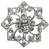 Maaria B's Accessories Silver Diamante Snowflake Flower Brooch Broach Pin Costume Jewellery