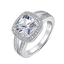 buy Sterling Silver Split Shank Cushion Cut Cz Bridal Engagement Wedding Ring