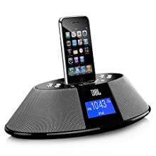 JBL On Time 200P AM/FM Clock Radio & Dock Speaker for iPod & iPhone (Black)