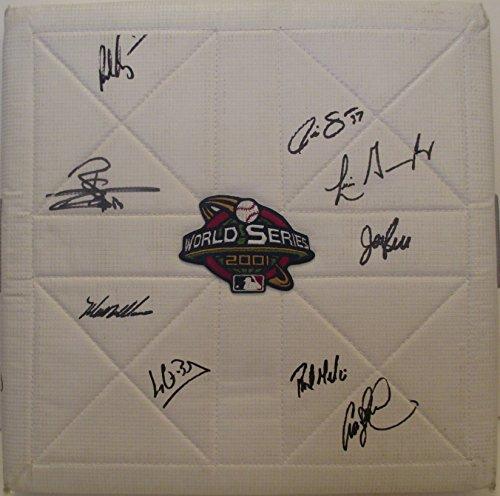 2001 Arizona Diamondbacks Team Autographed / Signed 2001 World Series Logo Full Size Base With 9 Signatures Total, Proof Photos