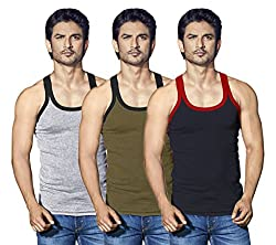 LUX Cozi Men Xylo Assorted Pack Of 3 Vests (X-Large)