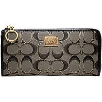 Hot Sale Coach Poppy Leather Slim Zip Wallet Clutch Bag 46070 Gunmetal