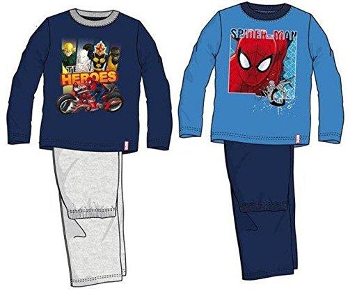 Spiderman Kollektion 2014 Schlafanzug 92 98 104 110 116 122 128 Jungen Pyjama Neu Lang SC3 (92 - 98, Dunkelblau-Grau)