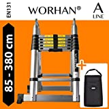 WORHAN® 3.8m (12' 5'') Double Telescopic Foldable Extendable Multipurpose Aluminium A Frame Robust Ladder Step Ladder (.3.8m A-line & bag) K3.8A