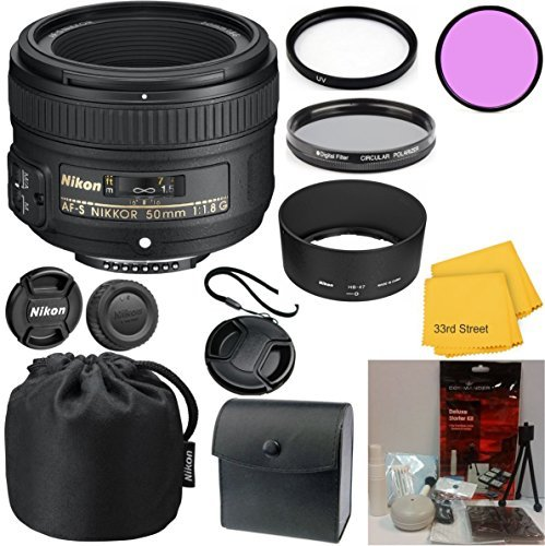 Nikon 50mm f/1.8G AF-S NIKKOR FX Lens 33rd Street Bundle for Nikon Digital SLR Cameras
