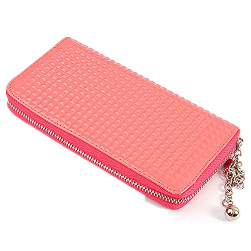 Fashion Women'S Soft Leather Clutch Wallet Card Holder Purse Zip Handbag (Pink)