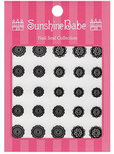 SunshineBabe ネイルシール レースD ブラック