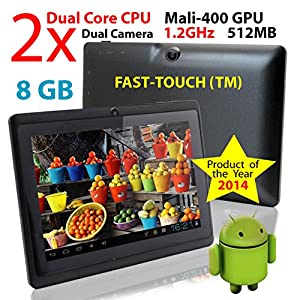 """7"""" Google Android 8GB VIA 8880 Tablet PC, Android 4.2, Dual Cortex-A9, 1.2GHz, Dual Camera, WiFi, Capacitive Multi-Touch Screen, Very Fast & Slim, Comes Ready To Go With All The Latest Apps, FastTouch(TM)"""