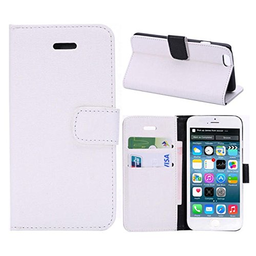Iphone 6 Phone Case Borch Fashion Multi-Function Wallet For Iphone 6 Case Luxury Pu Leather Carrying Case Cover With Credit Id Card Slots/ Money Pockets Flip Leather Case For Iphone 6 5.5 Inch Borch Screen Protector (White)