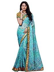 LolyDoll Women's Brasso Floral Print Light Blue Bollywood Saree, Casual/Festival_SR36