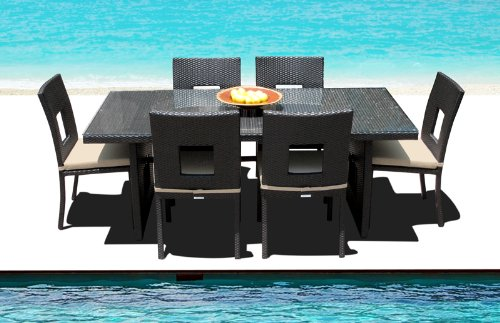 Outdoor Patio Wicker Furniture All Weather Resin New 7-Piece Dining Table & Chair Set