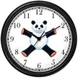 Giant Panda Bear Plush (Sad Face) - Bear - JP Animal Wall Clock by WatchBuddy Timepieces (Slate Blue Frame)