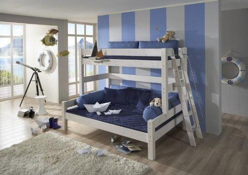 etagenbett hochbett g stebett dolphin family kiefer massiv farbe. Black Bedroom Furniture Sets. Home Design Ideas