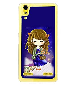 Fuson Premium Girl With Roses Metal Printed with Hard Plastic Back Case Cover for Lenovo A6000 Plus
