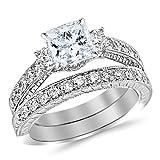 2.03 Carat Princess Cut Three Stone Vintage With Milgrain & Filigree Bridal Set with Wedding Band & Diamond Engagement Ring (I-J Color, SI2-I1 Clarity)