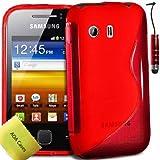TPU Silicone Gel S-Series Etui Coque Housse Pour Samsung Galaxy Y GT-S5360 + Mini-Stylet + Protecteur d'écran (Rouge)
