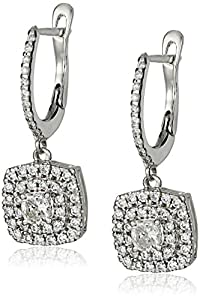 Cushion with Double Halo Micro Setting Round Diamond (1 1/2cttw, H-I Color, SI2-I1 Clarity) Dangle Earrings