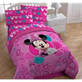 Disney Minnie NEW DESIGN Bedding Comforter and Sheet Set TWIN bed in a bag