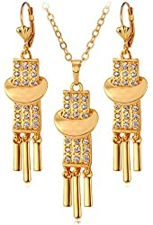 Pendant Necklace Elegant 18K Real Gold Plated Drop Earrings Rhinestone Fashion Jewelry Set